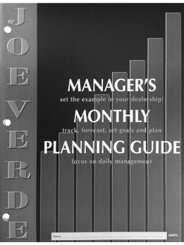 MANAGER'S MONTHLY PLANNING GUIDE FOR SALES