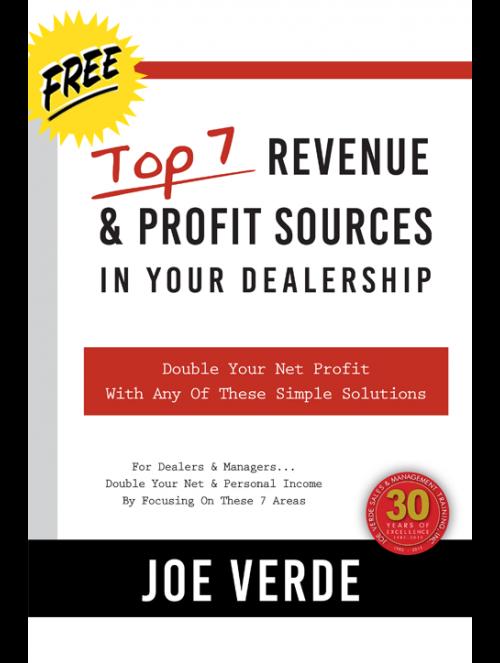 01 TOP 7 REVENUE & PROFIT SOURCES IN YOUR DEALERSHIP